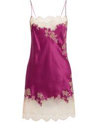 Carine Gilson Silk Lace-trim Nightdress - Purple