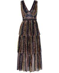 Self-Portrait Tiered Striped Sequin Midi Dress - Multicolour