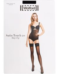 Wolford Satin Touch 20 Stay Up Thigh Highs - Black
