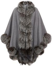 Harrods Spiral Fox Fur Trim Cape - Grey