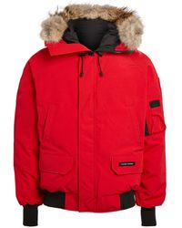 Canada Goose Chilliwack Fur Trimmed Down Bomber Jacket - Red
