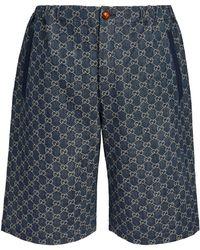 Gucci GG Supreme Denim Bermuda Shorts - Blue