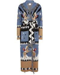 Hayley Menzies Jacquard Sunrise Rodeo Long Cardigan - Blue