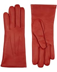 Harrods Isabelle Cashmere-lined Leather Gloves - Red