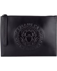 Balmain Embossed Leather Pouch - Black