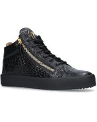 Giuseppe Zanotti Kriss Croc-embossed Patent-leather High-top Sneakers - Black