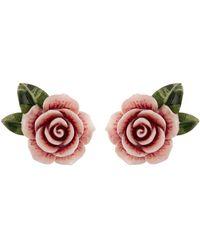 Dolce & Gabbana | Resin Rose Earrings | Lyst
