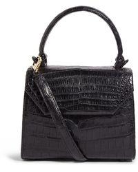 Nancy Gonzalez Crocodile Lily Top Handle Bag - Black