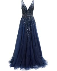 Jovani Embellished Sleeveless Gown - Blue