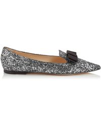 1132ac33d47a Lyst - Jimmy Choo Whirl Glitter and Patent Ballerina Flats in Natural