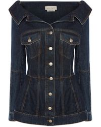 Alexander McQueen Off-the-shoulder Denim Jacket - Blue