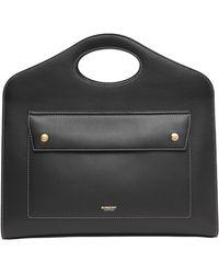 Burberry Medium Leather Pocket Bag - Black