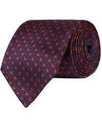 Pal Zileri Silk Heart Pattern Tie - Blue