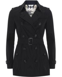 Burberry The Kensington Short Heritage Trench Coat - Black