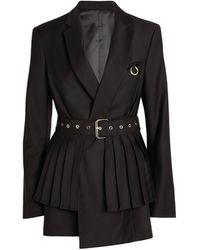 ROKH Belted Peplum Blazer - Black