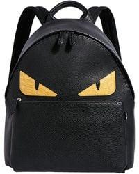 Fendi Bag Bugs Leather Backpack - Black