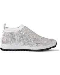 Jimmy Choo Crystal-embellished Norway Sneakers - Grey