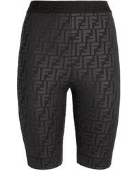 Fendi Embossed Ff Cycle Shorts - Black