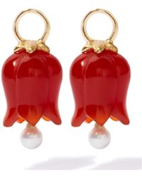 Annoushka - Yellow Gold, Red Agate And Pearl Tulip Earrings - Lyst