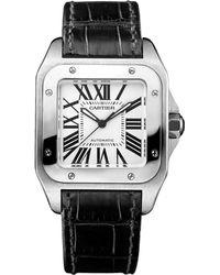 Cartier - Medium Stainless Steel Santos 100 Automatic Watch 35mm - Lyst