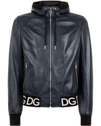 Dolce & Gabbana - Hooded Leather Bomber Jacket - Lyst