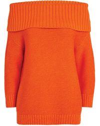 Alice + Olivia Bonnie Off-the-shoulder Sweater - Orange