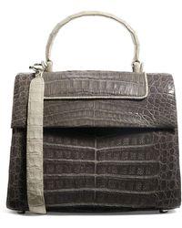Nancy Gonzalez Crocodile Lily Top-handle Bag - Grey