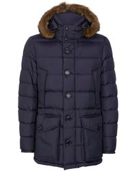 Moncler Cluny Coyote Trim Hooded Coat - Blue