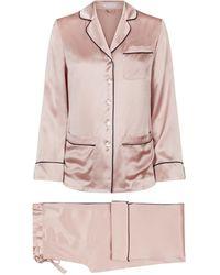 Olivia Von Halle Coco Dusky Pink Silk Pyjama Set