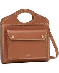 Burberry Mini Topstitch Detail Pocket Bag - Brown