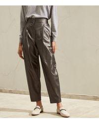 Brunello Cucinelli Leather Tapered Trousers - Multicolour