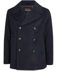 Emporio Armani Double-breasted Pea Coat - Blue