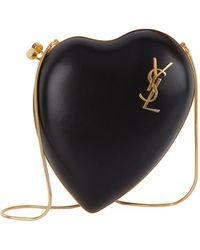 Saint Laurent - Leather Love Box Clutch - Lyst