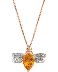 Bee Goddess Citrine And Diamond Queen Bee Necklace - Yellow