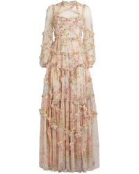 Needle & Thread Floral Diamond Ruffle Gown - Pink