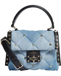 Valentino - Mini Denim Candystud Top Handle Bag - Lyst
