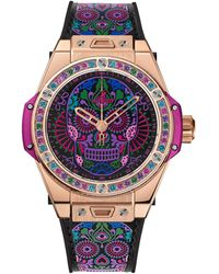 Hublot Rose Gold Big Bang One Click Calavera Catrina Watch 39mm - Black