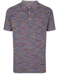 Missoni Knitted Stripe Polo Shirt - Blue