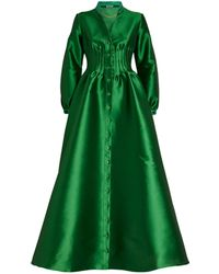 Alexis Mabille Gathered-waist Satin Gown - Green