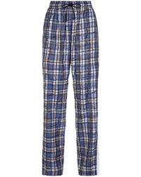 Burberry Scribble Stripe Check Pants - Blue