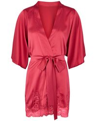 Fleur Of England Wallflower Lace Insert Silk Blend Robe - Pink