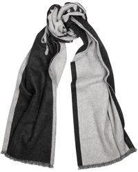 Ferragamo Charcoal Logo-intarsia Cashmere-blend Scarf - Black