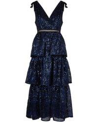 Self-Portrait - Black Sequin-embellished Mesh Midi Dress - Lyst