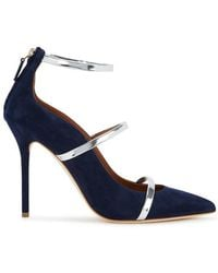 Malone Souliers - Robyn 100 Navy Suede Court Shoes - Lyst