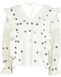 Lug Von Siga Carla White Floral-embroidered Cotton Blouse