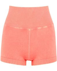 Free People Good Karma Peach Stretch-jersey Shorts - Orange