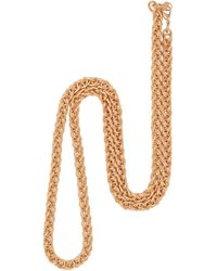 Susan Caplan 1990s Vintage Gold Plated Spiga Chain Necklace - Metallic