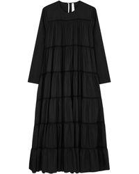 Merlette Maida Black Tiered Cotton-blend Dress