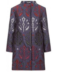 Varana - Hand Embroidered Quilted Silk Jacquard Bela Coat - Lyst