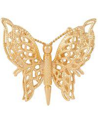 Susan Caplan 1970s Vintage Monet Butterfly Brooch - Metallic